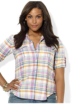 Lauren Ralph Lauren Plus Size Plaid Cotton Workshirt