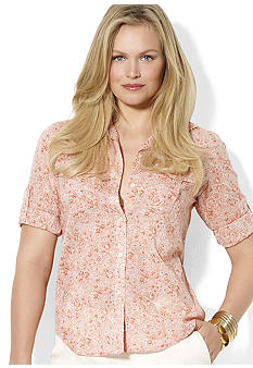 Lauren Ralph Lauren Plus Size Floral Cotton Workshirt