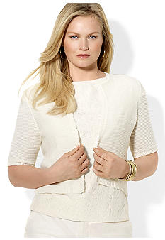 Lauren Ralph Lauren Plus Size Crocheted Cropped Cardigan