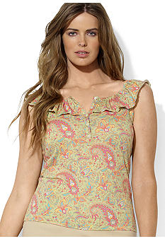 Lauren Ralph Lauren Plus Size Paisley Ruffled Scoopneck Top