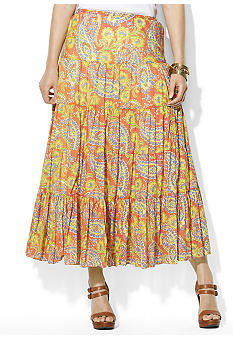 Lauren Ralph Lauren Plus Size Paisley Cotton Voile Tiered Skirt