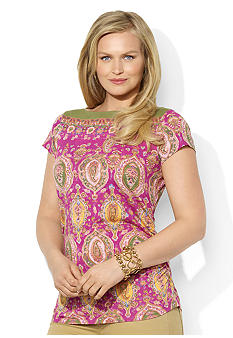 Lauren Ralph Lauren Plus Size Paisley Cotton Boatneck Top