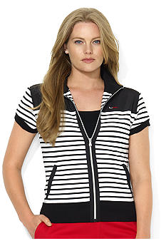 Lauren Ralph Lauren Striped Mockneck Cotton Jacket