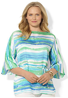 Lauren Ralph Lauren Plus Size Striped Georgette Tunic