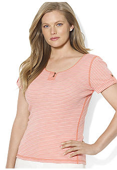 Lauren Ralph Lauren Plus Size Striped Roll-Tab-Sleeved Tee