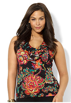 Lauren Ralph Lauren Plus Size Sleeveless Floral Tissue Cotton Ruffle V-Neck Top