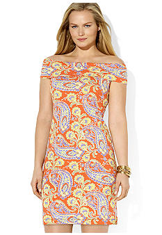 Lauren Ralph Lauren Plus Size Paisley Cowlneck Dress