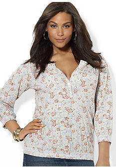 Lauren Ralph Lauren Plus Size Cotton Floral Smocked Top