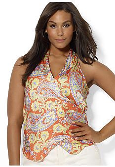 Lauren Ralph Lauren Plus Size Sleeveless Paisley Wrap Top