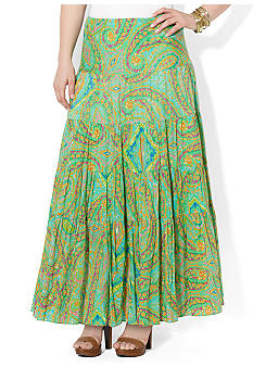 Lauren Ralph Lauren Plus Size Tiered Maxi Skirt