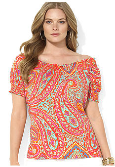 Lauren Ralph Lauren Plus Size Smocked Paisley Cotton Top