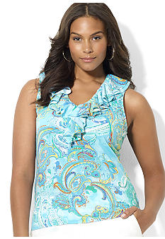 Lauren Ralph Lauren Plus Size Sleeveless Paisley Tissue Cotton Ruffle V-Neck Top