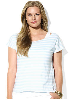 Lauren Ralph Lauren Plus Size Layered Striped Scoopneck Jersey T-Shirt