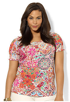 Lauren Ralph Lauren Plus Size Paisley Cotton Smocked Top