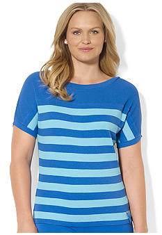 Lauren Ralph Lauren Plus Size Striped Waffle-Knit Shirt