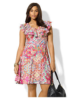 Lauren Ralph Lauren Plus Size Ruffled Paisley Cotton Dress