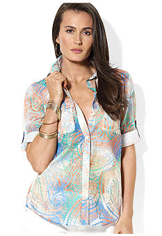 Lauren Ralph Lauren Plus Size Roll-Sleeve Paisley Workshirt
