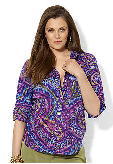 Lauren Ralph Lauren Plus Size Paisley Cotton Workshirt