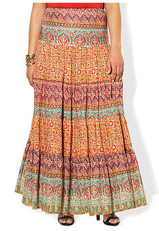 Lauren Ralph Lauren Plus Size Paisley Tiered Cotton Skirt