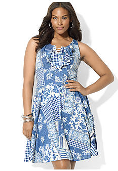 Lauren Ralph Lauren Plus Size Patchwork Lace-Up Dress