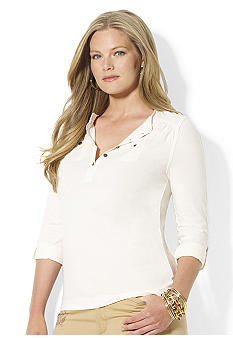 Lauren Ralph Lauren Plus Size Cotton Pocket Henley