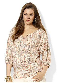 Lauren Ralph Lauren Plus Size Cotton Scoopneck Top
