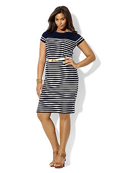 Lauren Ralph Lauren Plus Size Belted Lace-Up Boatneck Dress