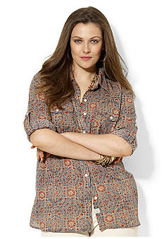 Lauren Ralph Lauren Plus Size Patterned Cotton Roll-Tab Workshirt