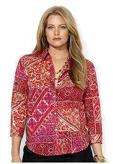 Lauren Ralph Lauren Plus Size Three-Quarter-Sleeved Printed Cotton Voile Shirt