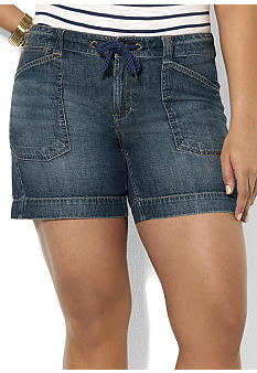 Lauren Ralph Lauren Plus Size Drawcord Denim Short
