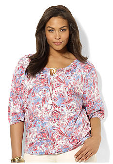Lauren Ralph Lauren Plus Size Paisley Cotton Scoopneck Top