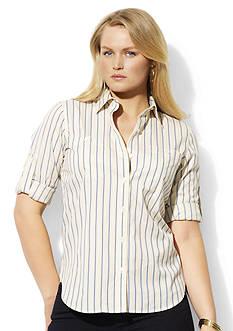 Lauren Ralph Lauren Plus Size Striped Roll-Tab Shirt