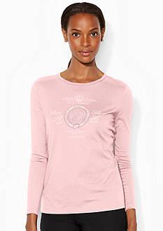 Lauren Ralph Lauren Plus Size Long-Sleeved Graphic Crewneck Shirt<br>