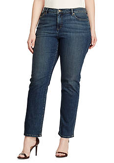 Lauren Ralph Lauren Plus Size Super-Stretch Classic Straight Harbor-Wash Jeans