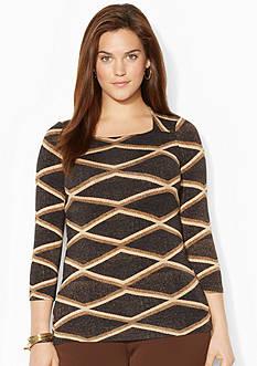 Lauren Ralph Lauren Plus Size Diamond-Print Square-Neck Shirt