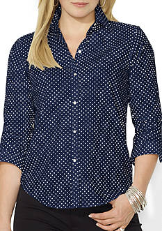 Lauren Ralph Lauren Plus Size Wrinkle-Free Polka-Dot Dress Shirt