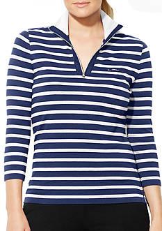Lauren Ralph Lauren Plus Size Striped Mockneck Pullover
