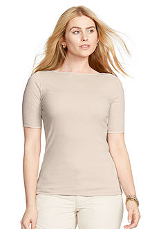 Lauren Ralph Lauren Plus Size Stretch Cotton Boatneck Tee