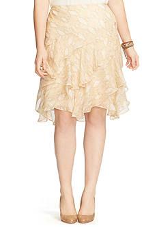 Lauren Ralph Lauren Plus Size Python-Print Ruffled Skirt