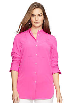 Lauren Ralph Lauren Plus Size Crepe Button-Up Tunic
