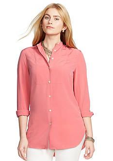 Lauren Ralph Lauren Plus Size Bib-Front Crepe Shirt
