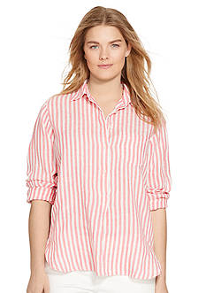 Lauren Ralph Lauren Plus Size Striped Linen Shirt