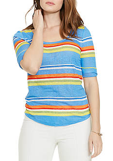 Lauren Ralph Lauren Plus Size Striped Linen Tee