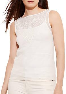 Lauren Ralph Lauren Plus Size Embroidered Tulle Top