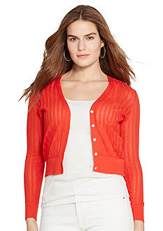 Lauren Ralph Lauren Plus Size Pointelle-Knit Cotton Cardigan