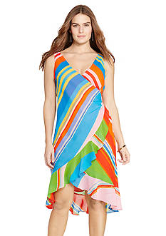 Lauren Ralph Lauren Plus Size Striped Georgette Wrap Dress