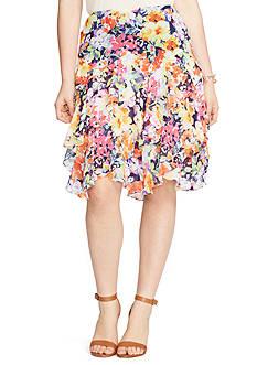 Lauren Ralph Lauren Plus Size Floral-Print Ruffled Skirt