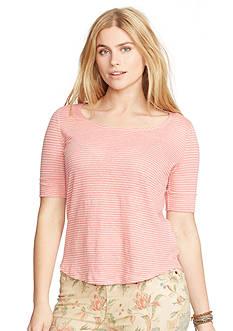 Lauren Ralph Lauren Plus Size Linen Scoop Neckline Tee