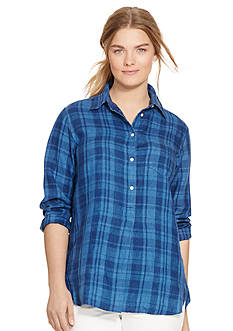 Lauren Ralph Lauren Plus Size Plaid Linen Shirt