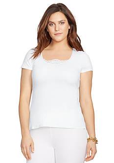 Lauren Ralph Lauren Plus Size Lace-Inset Cotton Top